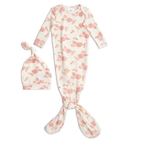 aden + anais - Coffret Naissance en Maille Cosy - Cadeau de Naissance - Grenouillère et Bonnet de Naissance en Viscose - Doux et Confortable - Cadeau pour Bébé Fille - de 0 à 3 Mois, Blanc et Rose