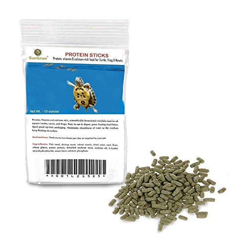 SunGrow Floating Food Sticks for Aquatic Turtles, Newts and Frogs, 10 Ounce, Nutritionally Balanced Meal for Strong Bones and Shells, Vitamin, Calcium and Protein-Enriched, Zip-Lock Packaging