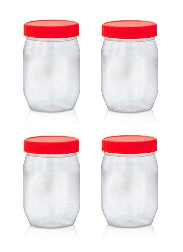 Sunpet Aufbewahrungsbehälter für Lebensmittel, Kunststoff, Rot, 300ml,  Pack von 4