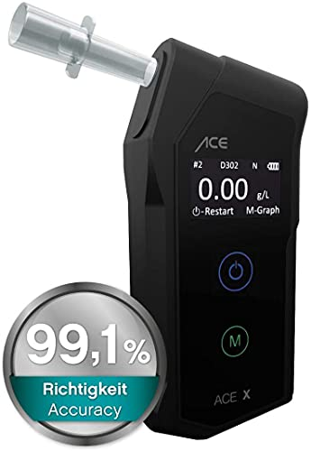 ACE X Alcoholímetro de Mayor Precisión 99,1% - Etilómetro Digital - Test de Alcoholemia Reutilizable - Portatil y Fiable
