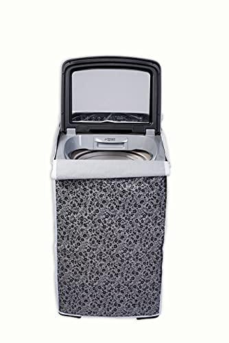 Classic® Whirlpool 360° Back Panel Top Load Washing Machine Cover for 8.0 Kg, 8.5 Kg, 9 Kg, 9.5 Kg, 10 Kg (63cms X 66cms X 106cms) Black & Grey