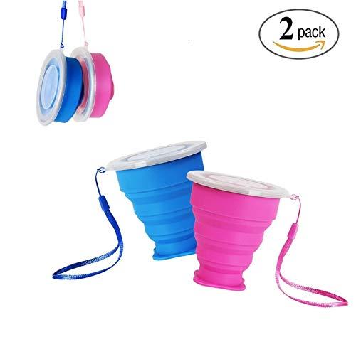 FUNNY HOUSE Faltbecher Camping, Tragbare Silikon Multifunktion Versenkbare Tasse, Reise Kaffeetasse Klappbecher mit Deckel 200ML Rosa und Blau(2 Stück)