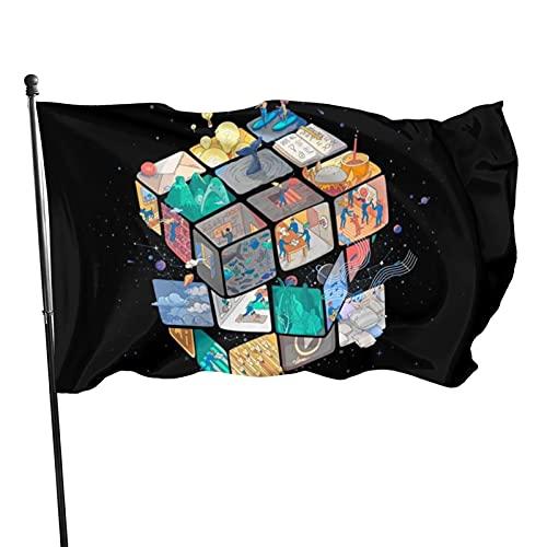 Bandera colorida del cubo de Rubik resistente a la decoloración UV banderas de decoración al aire libre