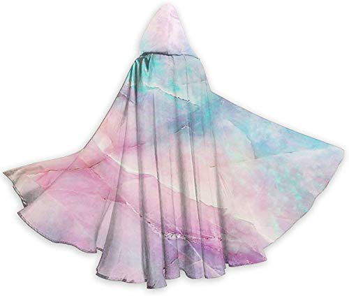 Iridescent Marble Halloween Cloak Fancy Hooded Cape with Drawstring Adult Cool Witch Robe Extra Long 59