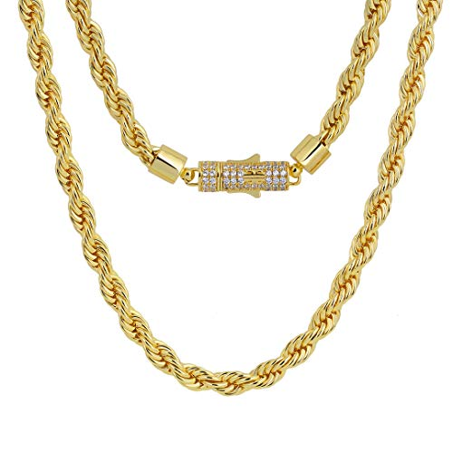 KRKC&CO 6mm Kordelkette Iced Out Rope Chain 14k Gold Plattiert, Massiv Damen Herren Hip Hop Halskette, Sicherer Kettenverschluss und Nickelfrei (51CM)