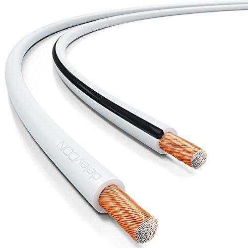 deleyCON 10m Cable de Altavoz 2X 1,5mm² Aluminio Recubierto de Cobre 2x48x0,20mm Trenza Marca de Polaridad - Blanco