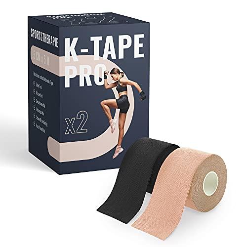 K-Tape Pro - Premium Kinesiologie Tape 5cm x 5m - Wasserfest & Elastisch - Kinesiotapes Set in versch. Farben   Physio Tape   Sport Tape (2er Set, Beige & Schwarz)