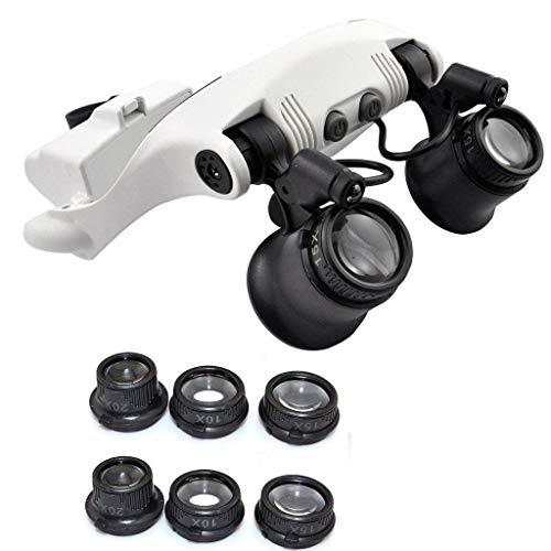 10X 15X 20X 25X LED Double Eye hoofd dragen loep juwelier horloge repareren vergrootglas met 2 LED-lampen