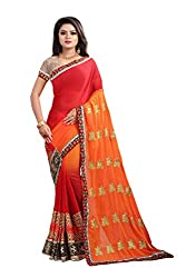 Ruchika Fashion Womens Georgette Saree With Blouse Piece Material