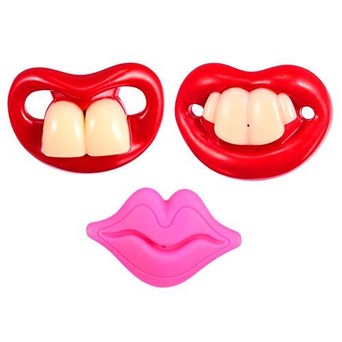 NUOBESTY 3 Piezas de Silicona Chupete Kiss Lip Buck Dientes Diseño Divertido Juguete Apaciguador Adorable Chupete para Niños Niñas Regalo