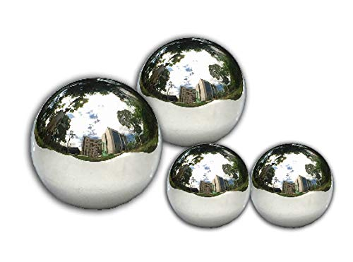 Unbekannt VARILANDO® Deko-Kugeln aus Edelstahl im 4er-Set Garten-Kugeln Edelstahl-Kugeln Garten-Dekoration Garten-Deko