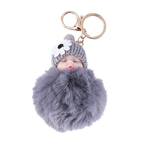 VOSAREA Niedlichen Cartoon Plüsch Schlüsselanhänger Baby Puppe Autoschlüssel Ring Anhänger Dekorationen Kinder Party Favors (Grau)