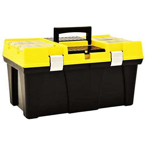 Festnight Werkzeugkoffer Kunststoff 595 x 337 x 316 mm Gelb Werkzeugkoffer Verstellbare Trennwände Werkzeugkasten Werkzeugkiste Werkzeugbox Kunststoff Kiste Leer Kunststoff