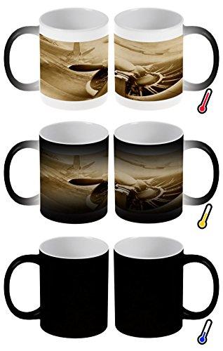 LEotiE SINCE 2004 Zaubertasse Farbwechseltasse Kaffeebecher Tasse Becher Latte Cappuccino Espresso Reisen Airport Propeller Altes Flugzeug