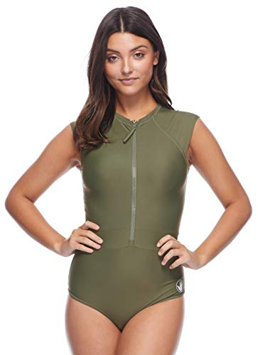 Body Glove Women's Stand Up Zip Front Paddle One Piece Swimsuit with UPF 50+, Smoothies Cactus, Medium