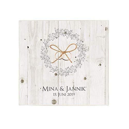 Manufaktur Liebevoll Ringkissen für die Hochzeit I aus Holz | personalisiert mit Namen und Hochzeitsdatum | Ein schönes Erinnerungsbild vom ganz besonderen Tag