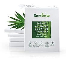 Sábana Bajera de Bambú | Suave y Lujosa | Fitted Sheet | Tejido de Microfibra Bambu | Bed Sheets | Sostenible | Sábana Hipoalergénica | Transpirable | Blanco - 180x200 | Bambaw