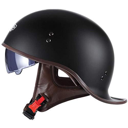 ZLYJ Halbschalen-Jet-Helm Motorradhelm, Brain-Cap · Mattschwarzer schwarzer Motorrad-Halbhelm mit eingebautem Visier für Cruiser Chopper Biker Lucky Skull, ECE-Zertifizierung A,M(57-58cm)