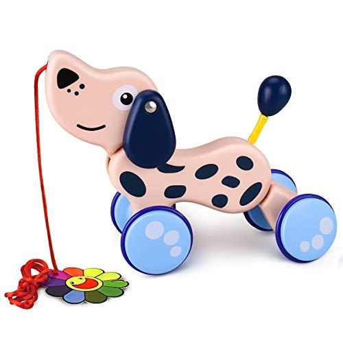 YoungRich Juego de Arrastre, Juguete Educativo para bebés Pequeño Niño Lindo Juguete Animal Palo de Arrastre para niños de 12 Meses en adelante (Perro)