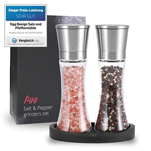 figg® Design Salz und Pfeffermühle (3er-Set) mit einstellbarem Keramik-Mahlwerk - aus hochwertigem Edelstahl - Auch geeignet als Salzmühle Chilimühle und Gewürzmühle - Zeitloses Geschenk