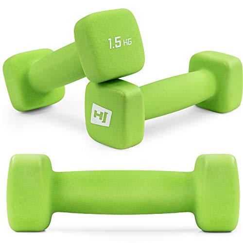 Hop-Sport Kurzhantel 2er Set aus Neopren in 6 Gewichtsvariationen 1-5kg ideal fürs Gymnastiktraining 2x1,5kg