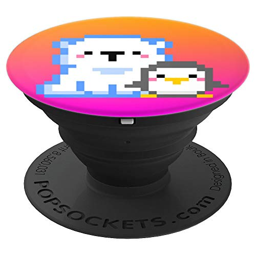 Gamer Girl 8-Bit Penguin Polar Bear Video Game Orange Pink PopSockets Grip and Stand for Phones and Tablets