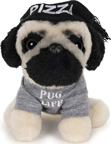 "GUND Doug The Pug Pizza Hat Plush Stuffed Animal Dog, 5"""