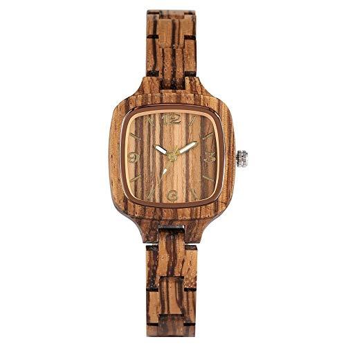 UIOXAIE Reloj de Madera Reloj de Madera Cuadrado Simple Minimalista para Mujer, Reloj Delgado, Ultra analógico, Brazalete de Madera de bambú Completo, Relojes para Mujer, Madera de CE