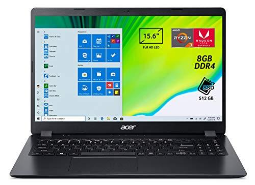 "Acer Aspire 3 A315-42-R55F Pc Portatile, Notebook, Processore AMD Ryzen 3 3200U, Ram da 8 GB DDR4, 512GB PCIe NVMe SSD, Display 15,6""HD LED LCD, Scheda Grafica AMD Radeon Vega 3, Windows 10 Home, Nero"