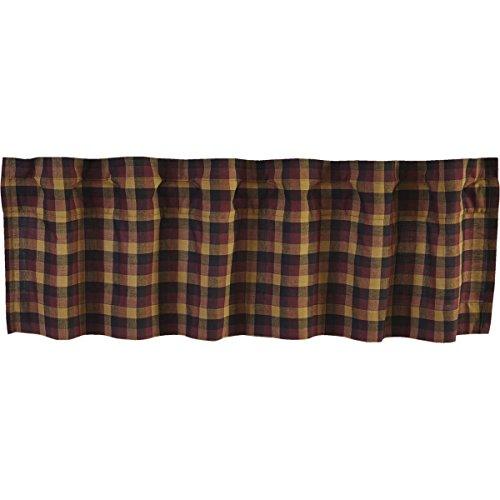 VHC Brands Primitive Kitchen Window Curtains-Heritage Farms Valance, 16x72, Deep Burgundy Red