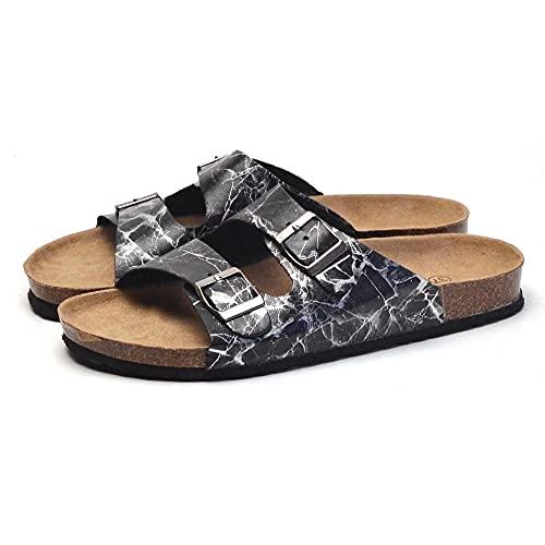 COQUI Zapatillas de Verano de Mujer,Zapatillas de Madera Suave Masculinas Antideslizantes para Mujer suéter fría Pareja Zapatos de Playa-Negro_41