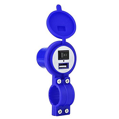Adaptateur d'Alimentation, Keenso Prise de Charge USB Téléphone Portable Chargeur Electrique avec Interrupteur universel 12-24V Port d'Alimentation Etanche(Blue)