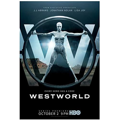 KONGQTE Westworld Stagione 1 (2016) Copertina del Film Poster e Stampe Decorazione della Parete per Soggiorno Ufficio Arredamento opere d'Arte uniche Stampa su tela-20x30 Pollici Senza Cornice