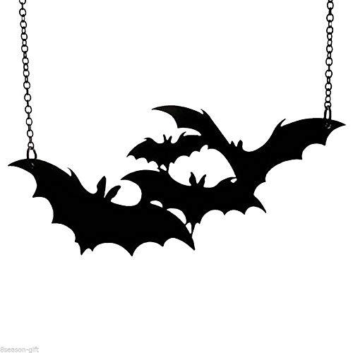 Unisex Punk Large Gothic Black Bat Pendant Necklace Halloween Vampire