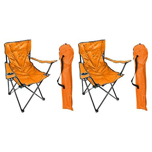 Mojawo 2\'er Set Anglersessel Campingstuhl Faltstuhl Anglerstuhl Regiestuhl Orange mit Getränkehalter und Tasche