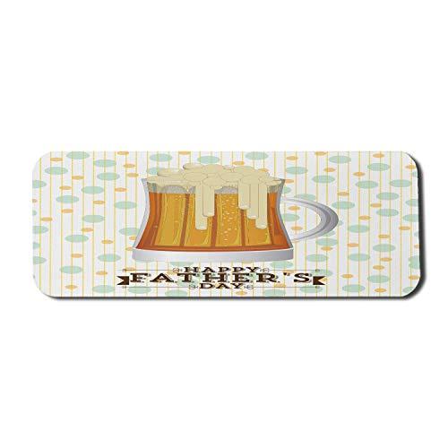 Papa Computer Mauspad, Happy Fathers Day Feier mit einem illustrierten schaumigen Bier auf Tupfen Hintergrund, Rechteck rutschfeste Gummi Mousepad große mehrfarbig