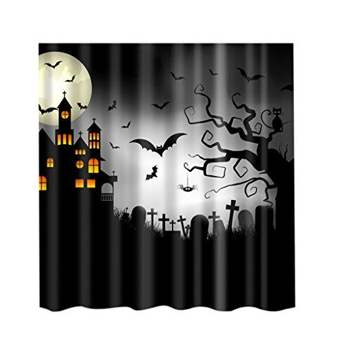 MagiDeal Duschvorhang aus Stoff - wasserdichter Duschvorhang - Halloween Muster - waschbarer Textil Duschvorhang in der Größe 180,0 cm x 180,0 cm - Polyester - Baum Fledermaus Katze, 180x 180cm