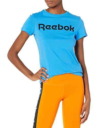 Reebok Training Essentials Graphic T-Shirt Manga Corta, Horizon - Reloj de Pulsera, Color Azul y Negro, M para Mujer