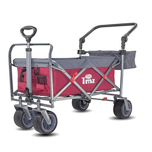 TMZ Faltbarer Bollerwagen All-Terrain Gartenwagen mit Fußbremse, Patentierter Breiter Auto-Reifen Klappwagen, 96 L Handwagen, Praktisch Integrierte Vorderradlenkung Transportwagen, bis 120kg