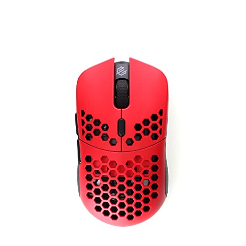 Gwolves Hati S HTS Wireless Ultra Lightweight Honeycomb Design Gaming Mouse - 3335 Sensor - PTFE Skates - 6 Buttons - 58g (Faze Red)