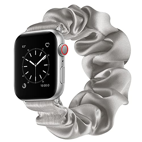 AdirMi Compatible con Apple Watch Series SE 6, 5, 4, 3, 2, 1, banda elástica de color sólido para reloj Apple Watch 38/40 mm, 42/44 mm, gris, 38/40 mm (L)