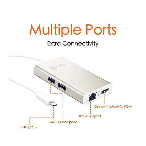 j5create USB C Hub Multi-Adapter Docking Station with HDMI 4K, 2X USB 3.1 SuperSpeed Ports, Ethernet, Power Delivery 2.0 2 The perfect accessory for your MacBook, Chromebook or other laptop with a USB Type-C port. It lets you easily backwards connect your USB Type-C computer to USB 3.0, USB 2.0, HDMI and RJ-45 devices. USB 3.0 SuperSpeed Ports: 2 USB 3.0 SuperSpeed ports, backwards compatible with USB 2.0 and USB 1.1 devices。 Note: Currently not compatible with macOS 11 Big Sur. To avoid any loss of functionality, we strongly advise all Mac users to delay updating to MacOS Big Sur 11 for the time being Get extra connectivity from your computer with 5Gbps fast transfer speeds. Add an additional USB computer peripheral, HDMI Monitor or Gigabit LAN through your USB Type-C port. (note: LAN usage requires download of a free driver)Bullet Point