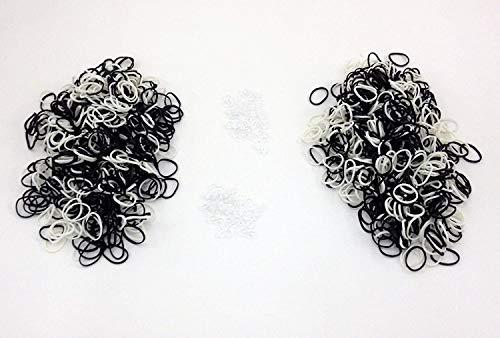 BESPISON Black & White Rubber Loom Bands 1200 Pcs Loom Bands Zebra Bracelet