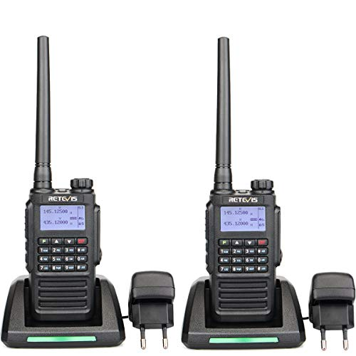 Retevis RT87 Walkie Talkie Impermeabile IP67, Dual Band 128 Canali, FM Radio, Roger Beep Display LCD DTMF Allarme, Walkie Talkie Professionali (Nero,2 Pezzi)