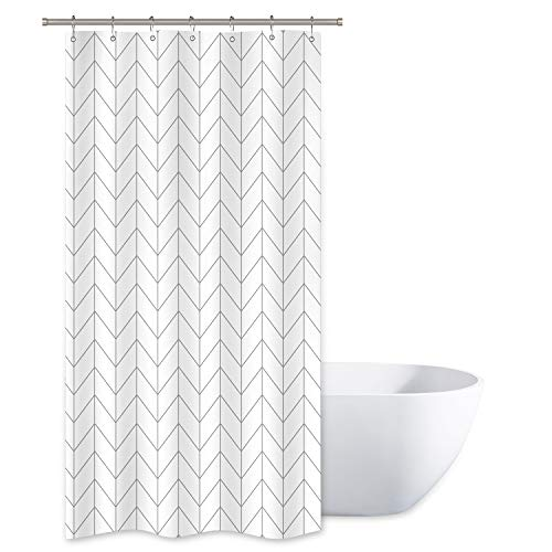 Riyidecor Stall Small Shower Curtain Half Size 36x72 Inch Chevron Striped Herringbone White Geometric Narrow Tiny 7 Pack Hooks Single Dorm Decor Fabric Bathroom Set Polyester Waterproof