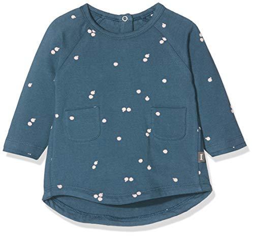 Imps & Elfs Baby-Mädchen Dress Long Sleeve Kleid, Blau (Orion Blue AOP Apples P350), (Herstellergröße: 68)