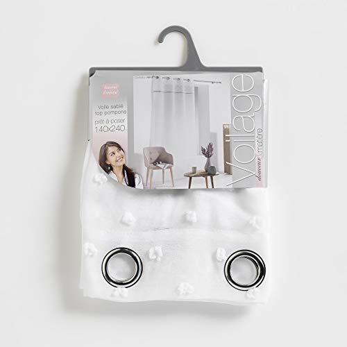 DOUCEUR D'interno 140 x 240 cm, in Voile, modello Top pompon Confettis anelli, colore: bianco