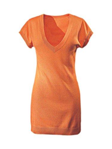 Heine Damen-Pullover Longpullover Orange Größe 38