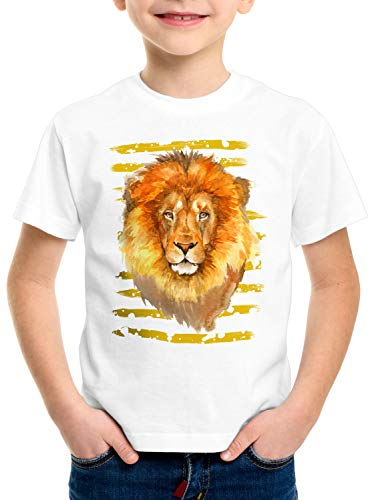 style3 Löwe T-Shirt für Kinder Afrika Safari savanne Sommer, Größe:128