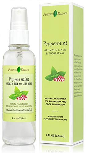 Positive Essence Peppermint Linen and Room Spray, Natural Aromatic Mist Made with Pure Peppermint Essential Oil, Relax Your Body & Mind, Perfect as a Bathroom Air Freshener Odor Eliminator
